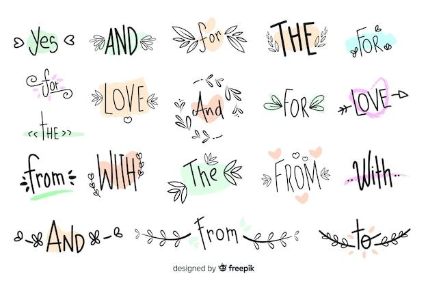 Linda colección de lemas de boda dibujados a mano vector gratuito