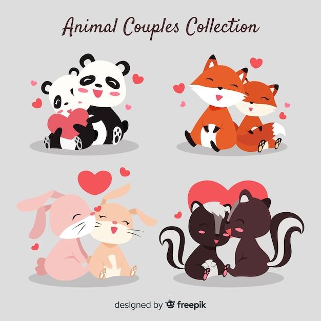 Linda colección de parejas de animales para el día de san valentin vector gratuito