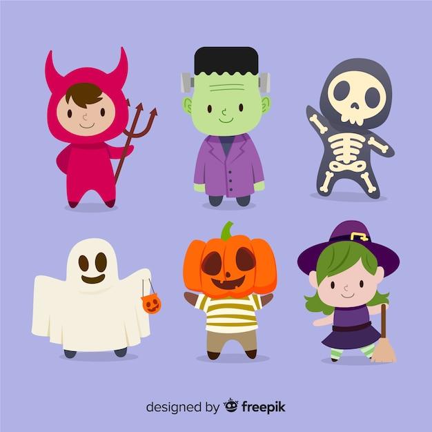 Linda colección de personajes de halloween en diseño plano vector gratuito