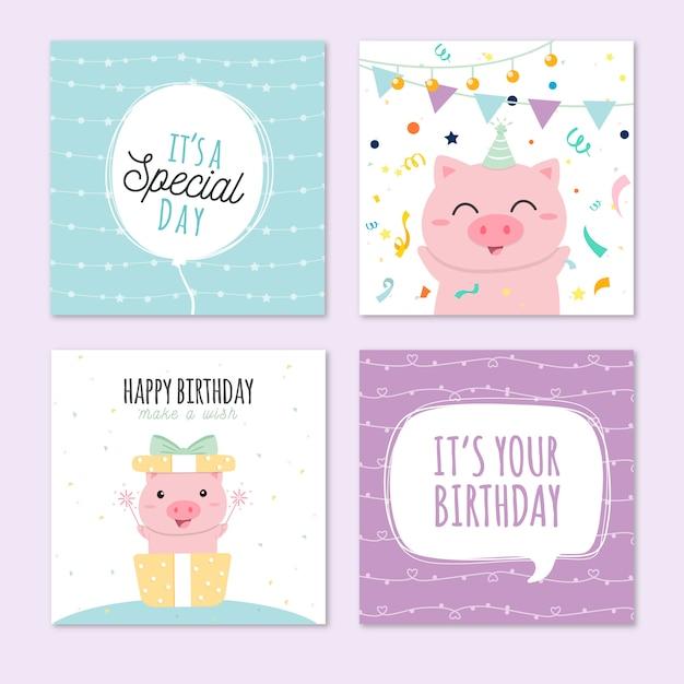 Linda colección de tarjetas de cumpleaños Vector Premium