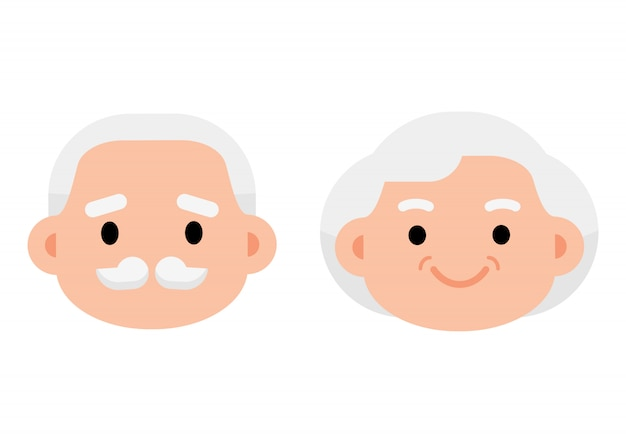 Linda edad mayor edad pareja icono Vector Premium