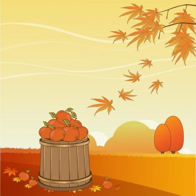Linda escena de otoño vector gratuito