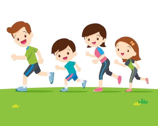 Linda familia corriendo juntos Vector Premium