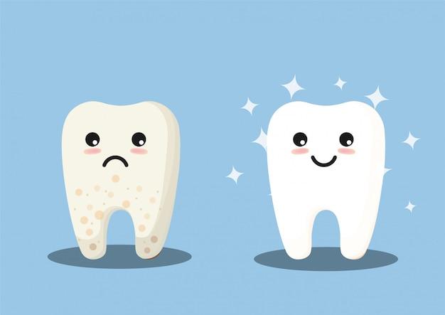 Linda ilustración de dientes limpios y sucios Vector Premium