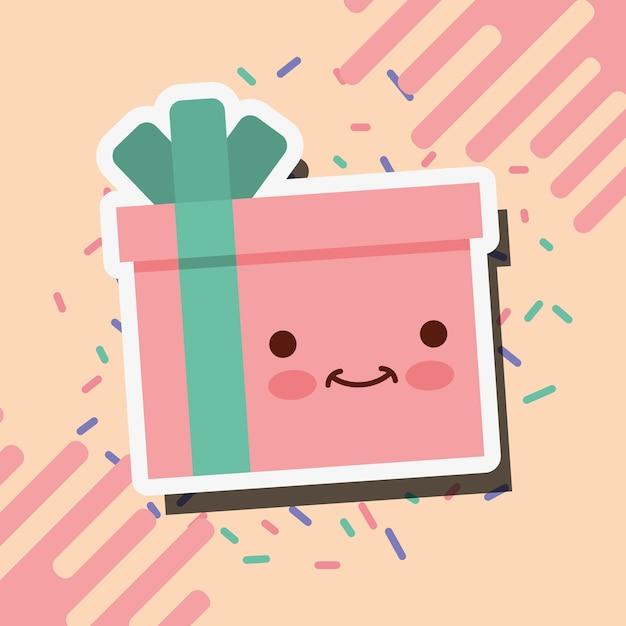 Linda Ilustracion De Vector De Caja De Regalo De Feliz Cumpleanos
