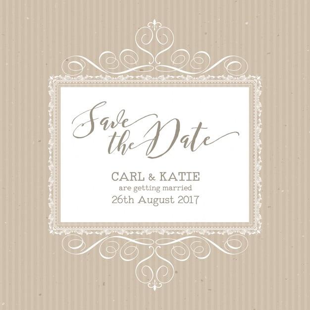linda invitacin de boda con elegantes ornamentos vector gratis