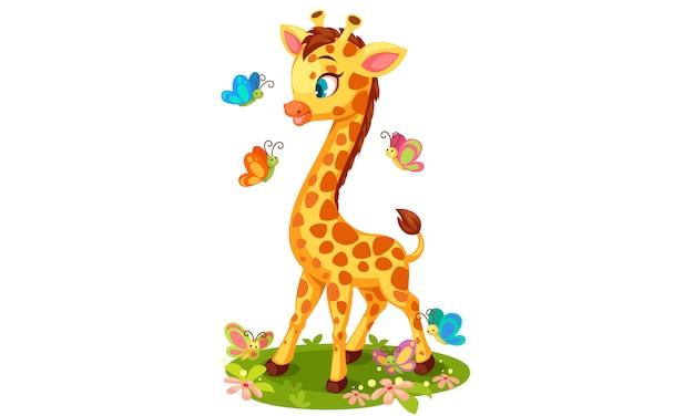 Linda jirafa jugando con mariposas vector gratuito