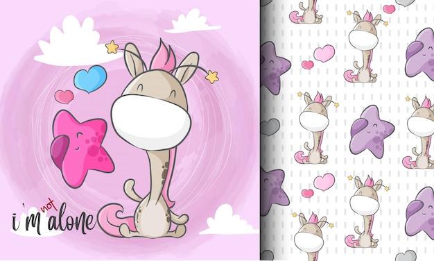 Linda jirafa con pequeña estrella de patrones sin fisuras ilustración infantil Vector Premium