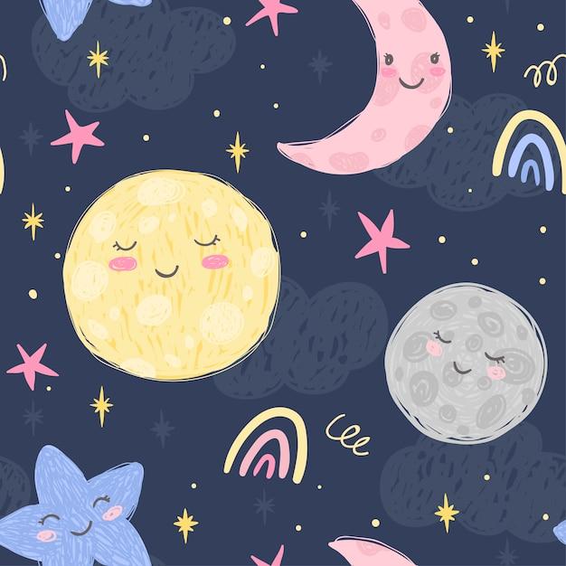 Linda luna, media luna, planeta y estrellas en el fondo nocturno con nubes. patron inconsútil dibujado a mano. ilustración para habitación de niños y tela Vector Premium