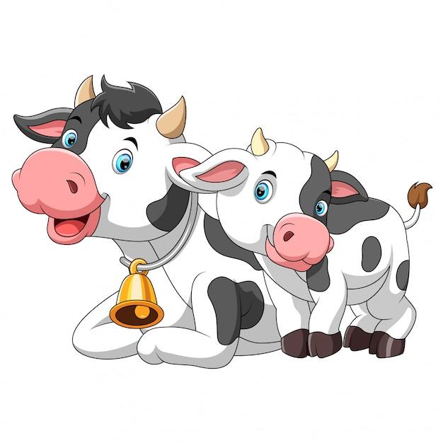 Linda madre de vaca con cría Vector Premium