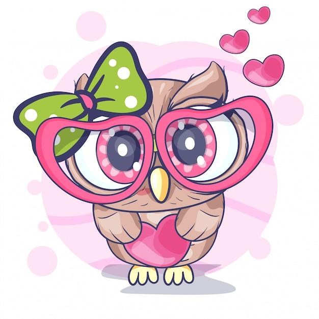Linda niña búho con un corazón Vector Premium