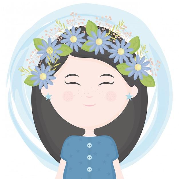 Linda niña con corona floral en el personaje de pelo. vector gratuito