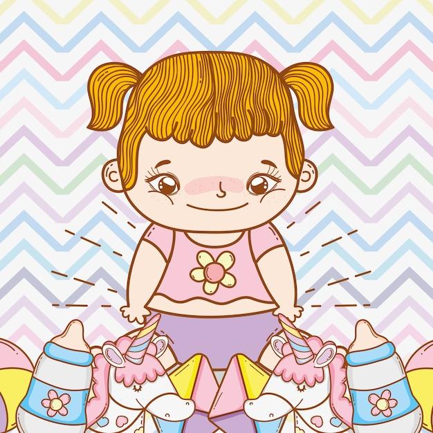 Linda niña con juguetes divertidos Vector Premium