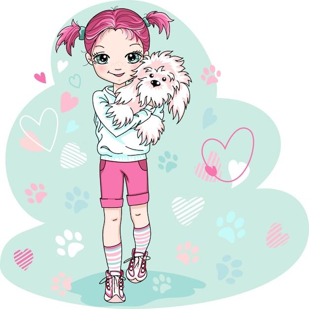 Linda niña con perrito Vector Premium