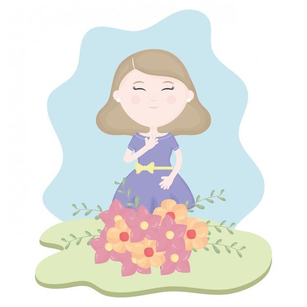 Linda niña con ramo de flores en el campo vector gratuito