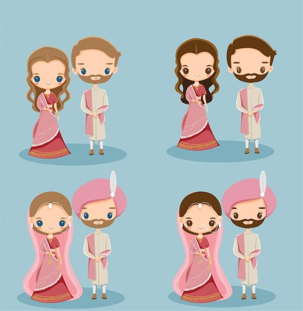Linda novia y el novio indio en traje tradicional para la tarjeta de invitación de boda Vector Premium