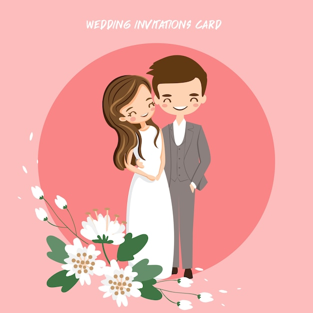 67c78eea59fa Linda novia y el novio para invitaciones de boda tarjeta | Descargar ...
