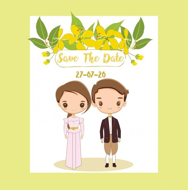 Linda novia y novio tailandeses para invitaciones de boda tarjeta Vector Premium