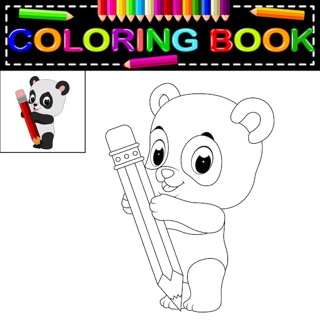 Linda panda feliz para colorear | Descargar Vectores Premium