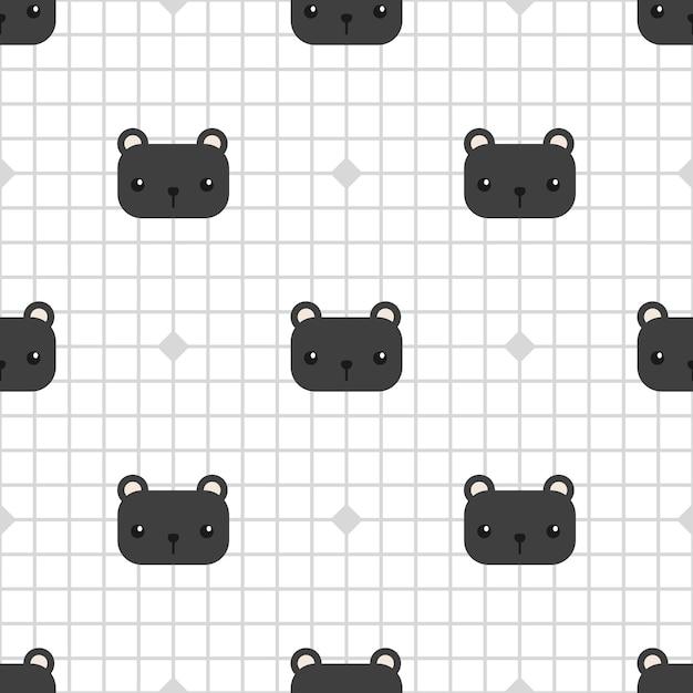 Linda pantera negra en cuadrícula de patrones sin fisuras de dibujos animados Vector Premium