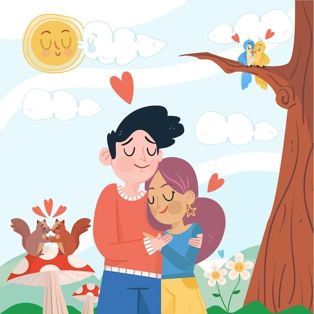 Linda pareja abrazándose ilustrada Vector Premium