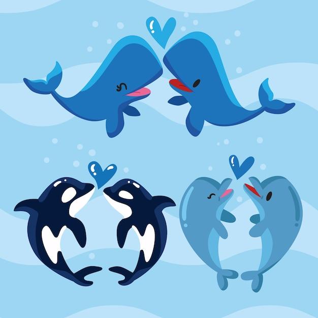 Linda pareja de animales del día de san valentín vector gratuito
