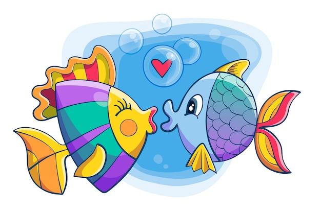 Linda pareja de animales de san valentín con pescado Vector Premium