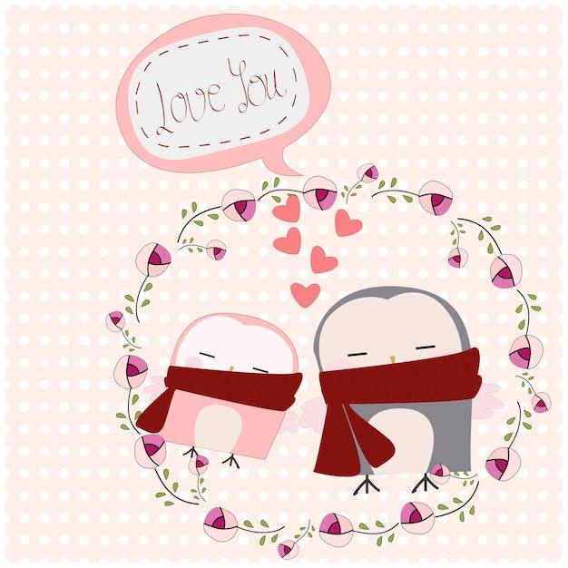 Linda pareja de búho en marco floral rosa | Descargar Vectores Premium