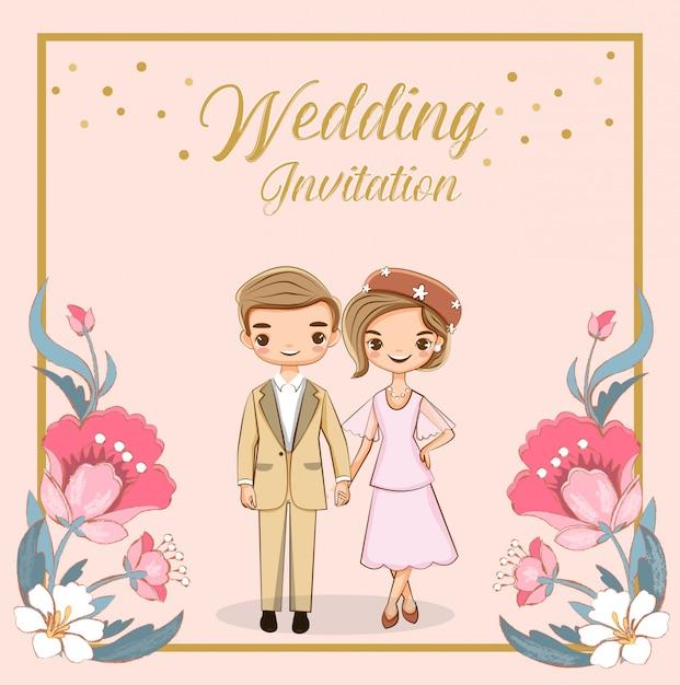 Linda pareja de dibujos animados para invitaciones de boda tarjeta Vector Premium