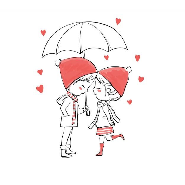 Linda pareja enamorada el día de san valentín. Vector Premium