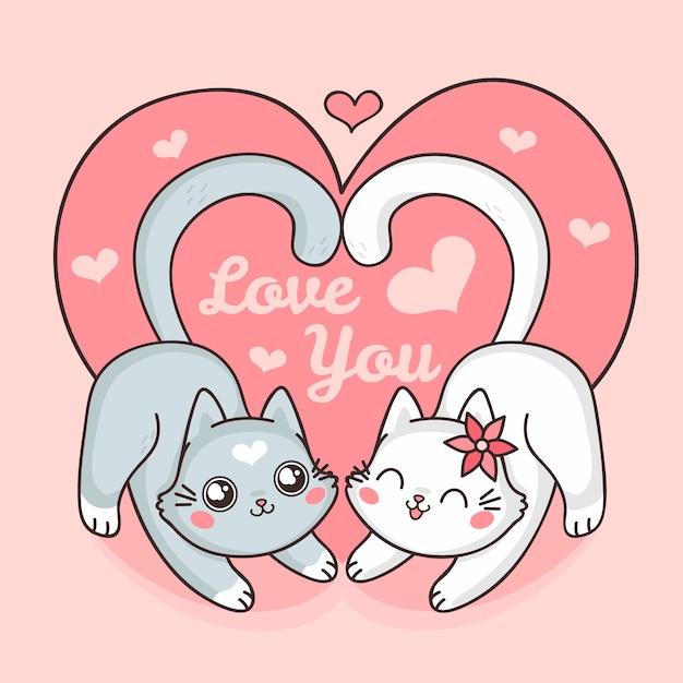 Linda pareja de gatos de san valentín vector gratuito