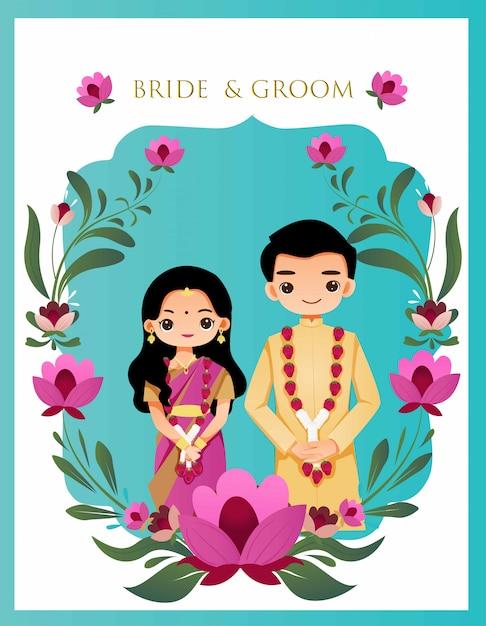Linda pareja india en tarjeta de boda floral Vector Premium