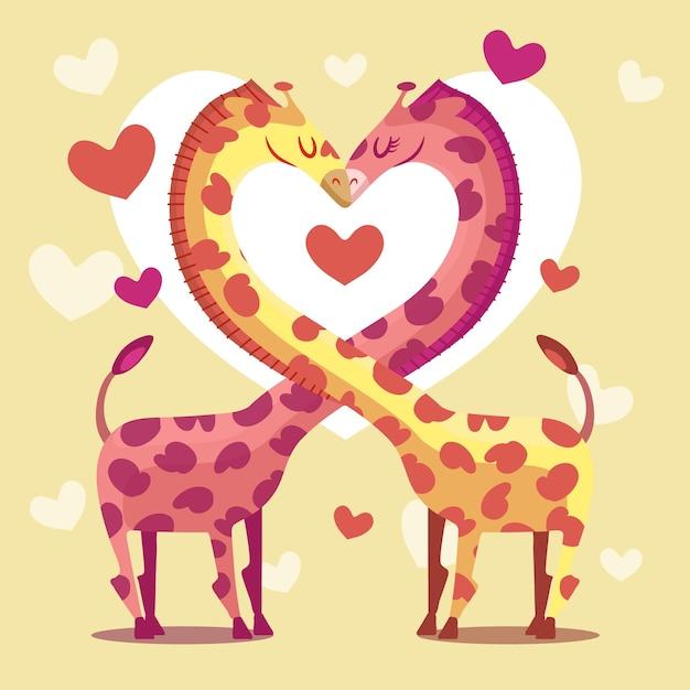 Linda pareja de jirafas de san valentín vector gratuito