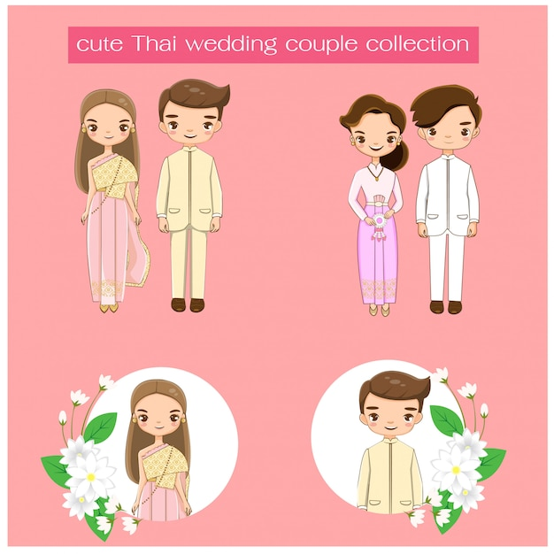 Linda pareja de novios tailandeses en la colección de vestidos tradicionales tailandeses Vector Premium