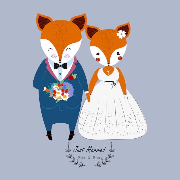 Linda pareja de novios en vestido de novia y ramo de flores Vector Premium