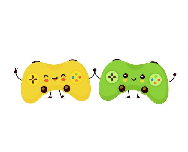 Linda pareja sonriente joystick juego Vector Premium