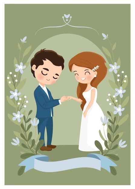 Linda pareja use un anillo de bodas en la tarjeta de invitación de boda Vector Premium