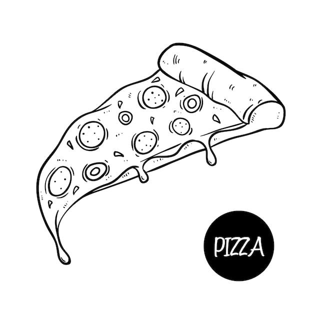 Linda pizza deliciosa con queso derretido y usando el estilo de doodle dibujado a mano Vector Premium