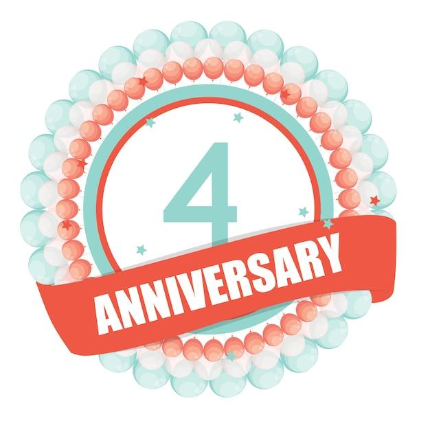 Linda plantilla de 4 años de aniversario con globos y cinta vecto Vector Premium