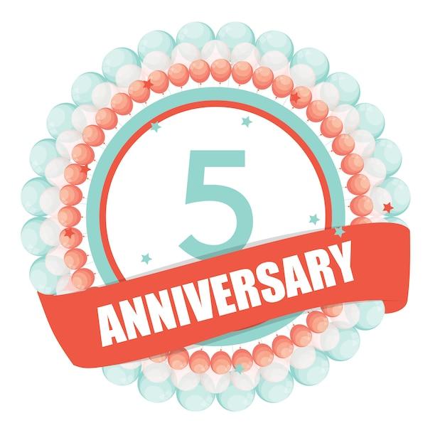 Linda plantilla de 5 años de aniversario con globos y cinta vecto Vector Premium