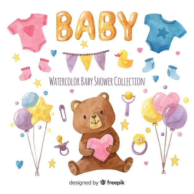Linda plantilla de acuarela de baby shower vector gratuito