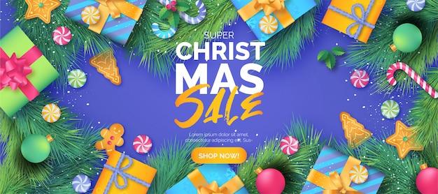 Linda plantilla de banner de venta de navidad con regalos vector gratuito