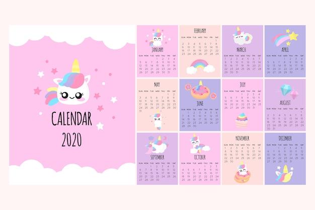 Linda plantilla de calendario 2020 vector gratuito