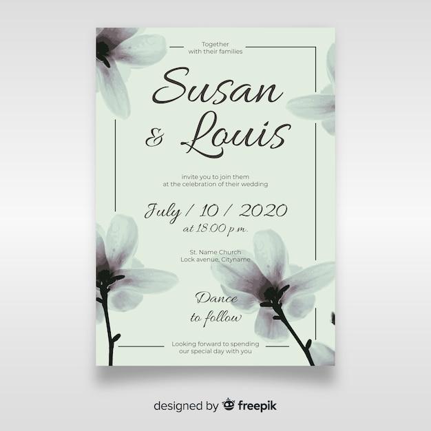 Linda plantilla de invitación de boda floral vector gratuito