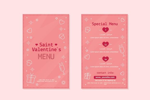 Linda plantilla de menú del día de san valentín vector gratuito