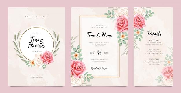 Linda plantilla de tarjeta de boda con hermosa floral Vector Premium