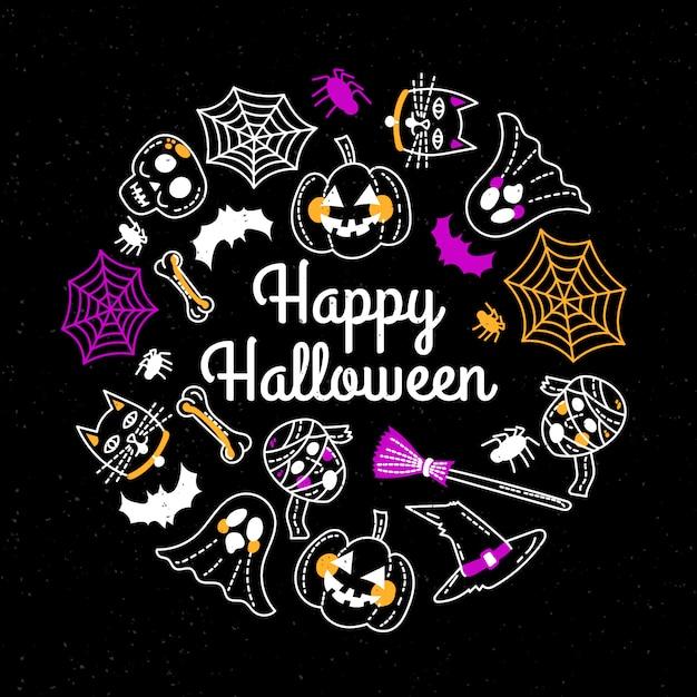 Linda plantilla de tarjeta de felicitación de feliz halloween dibujada a mano vector gratuito