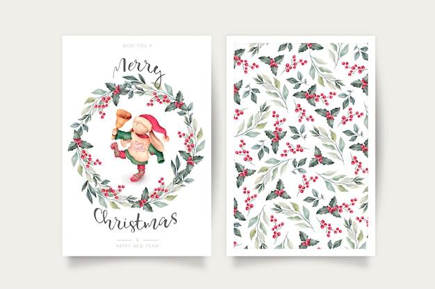 Linda plantilla de tarjeta de navidad con encantador personaje vector gratuito