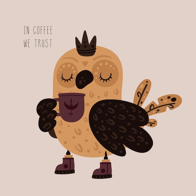 Linda princesa búho con taza de té, café Vector Premium