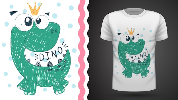Linda princesa dinosaurio - idea para imprimir camiseta Vector Premium